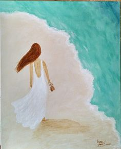 """Walking the Beach"" Painting for May 2015  Canvas & Vino class"