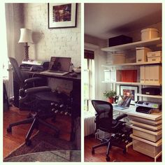 Created a new home office for this client - use that vertical space! #elfa #thecontainerstore #homeoffice #verticalspace Reposted Via @doneanddonehome