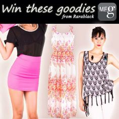 """WIN these Rarablack clothes! 1) Download My Fashion Guide app or go to our website www.myfashionguide.com 2) Click Notify on rarablack.com, and comment """"I want to get NOTIFIED by Rarablack!"""" and tag 3 friends on our FB post.  Giveaway entries end on 27th April, 11.59 pm"""