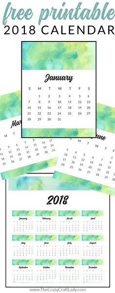 FREE Printable 2018 Calendars - Watercolor and Shibori Options - The Crazy Craft Lady FREE printable 2018 calendars, note sheets, to do lists, and planner printables. Arc Planner, 2018 Planner, College Planner, Weekly Planner, Happy Planner, College Tips, Printable Planner, Free Printables, Printable Calendars