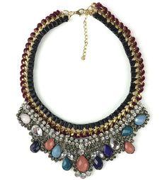 Colorful Gem Rhinestone Braided Necklace