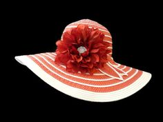 """Women's Summer Hat, Spring Fashion Easter Hat, Sun Hat in Red and White Stripes is """"A CHEERY HELLO"""" on Etsy, $32.00"""