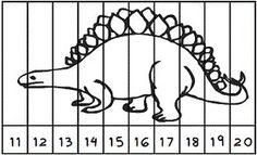 Rompecabezas puzzle. Números 11 al 20. Motivo: dinosaurio para colorear. Preschool Letter Crafts, Dinosaurs Preschool, Numbers Preschool, Letter A Crafts, Preschool Worksheets, Math Activities, Preschool Spanish, Lettering Guide, Pool Party Decorations