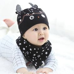 New fashion Baby Hat Cap Saliva Towel Triangle Head Scarf Set