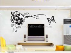 Phoenix Tail Flower With Butterfly Wall Stickers - home-decorating Photo Butterfly Wall Decals, Butterfly Wall Stickers, Wall Stickers Home, Wonderful Flowers, Flower Branch, Cherry Blossom, Phoenix, Nursery, Living Room