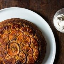 Maple Persimmon Upside-Down Cake with Maple Cream - VeggieFocus http://veggiefocus.com