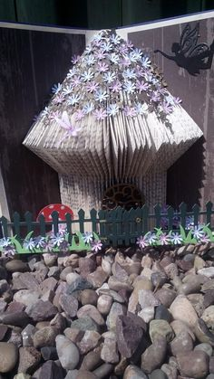 Book folding fairy house made by - https://www.facebook.com/Cards-More-Cards-183364318353560/