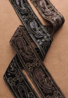 "Simplicity Creative Group - 1-3/4"" Velvet & Sequin Paisley Trim. black or gold, $5.72/yd"