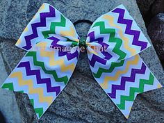 3 Width Cheer Bow 7x6.5 Texas Size Mardi Gras Cheer Bow by JustImagineThatBows