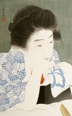 Morning Hair  1932    Torii Kotondo , (Japanese, 1900 - 1976)   Showa era     Woodblock print; ink and color on paper  H: 50.9 W: 32.0 cm   Japan