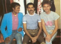 Three legends in one picture: Michael Jackson, along with my babies Freddie Mercury and John Deacon of Queen!