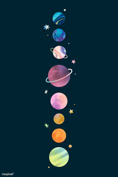 Colorful galaxy watercolor doodle on black background vector Space Phone Wallpaper, Planets Wallpaper, Iphone Background Wallpaper, Locked Wallpaper, Tumblr Wallpaper, Disney Wallpaper, Cartoon Wallpaper, Cute Galaxy Wallpaper, Aztec Wallpaper