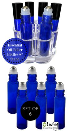 Essential Oil Roller Bottles with Stand   http://www.amazon.com/Essential-Oils-Rollerball-Containers-Aromatherapy/dp/B00U4PBLMW Cobalt Blue roll on bottles are perfect for aromatherapy, home remedies, natural perfumes, health sticks, and more.  Set of 6 roll ons with stainless steel balls.  Comes with a handy display bottle holder to keep oils at hand and ready to use!