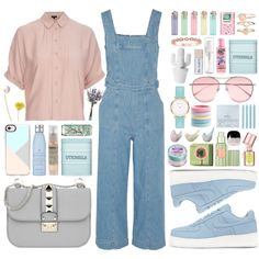 Pastels please by carolsposito on Polyvore featuring Topshop, Current/Elliott, NIKE, Valentino, Dogeared, Abbott Lyon, Accessorize, Casetify, Gentle Monster and L. Erickson