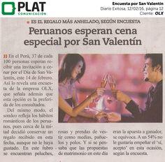OLX: Encuesta por San Valentín en el diario Exitosa de Perú (12/02/16)