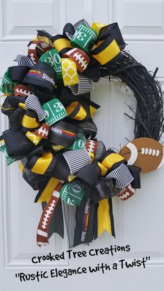 Pittsburgh Steelers wreath Football wreath by CrookedTreeWV