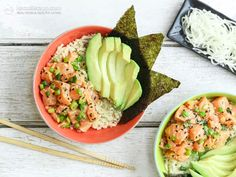 This recipe is my take on a popular Hawaiian summer staple. Poke bowls are traditionally made with raw fish (salmon or tuna), marinated in soy sauce and served with sticky rice, pickled vegetables and avocado. My version is grain-free, paleo and low in carbs, which makes it suitable for the ketogenic diet. It's high ...