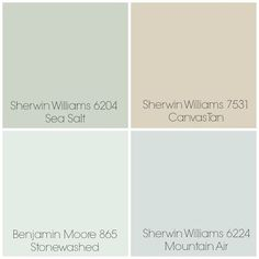 Finalized the paint colors for our home: Sea Salt - Entry / Dining Room. Canvas Tan - Living Room. Stonewashed - Playroom & Kitchen (possibly). Mountain Air - Master Bedroom. All rooms with white trim. One other possibility in place of Stonewashed is Sherwin Williams 6203 Spare White (not pictured).