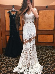 Newest Trumpet/Mermaid Scoop Neck Ivory Tulle Appliques Lace Sweep Train Open Back Prom Dresses #PED020103500