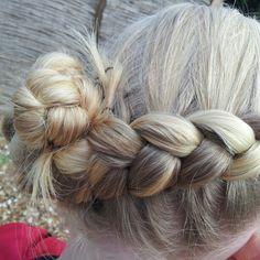 Dutch braid into a flower hair bun ♥
