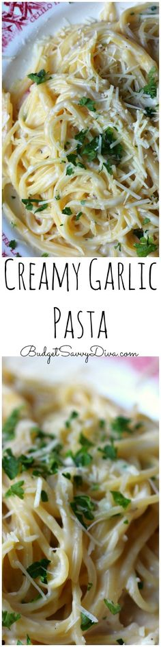 Creamy Garlic Pasta Recipe Creamy and Delicious! Done in about 30 minutes – Perfect weekday meal – my family cannot wait till I make it again – Must Make Recipe – Easy Recipe Alert – Creamy Garlic Pasta Recipe Creamy Garlic Pasta, Parmesan Pasta, Garlic Parmesan, Vegetarian Recipes, Cooking Recipes, Cooking Tips, Budget Cooking, Good Food, Yummy Food