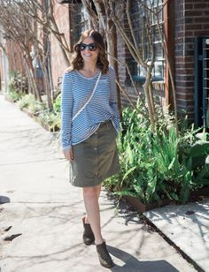 We love the way House of Harper styled our Pilcro Chino Skirt—so much so that we asked her to share spring outfit tips over on the #AnthroBlog #Anthropologie