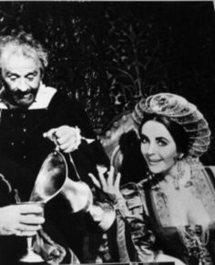Elizabeth clowning with Cyril Cusack on set of The Taming of the Shrew...