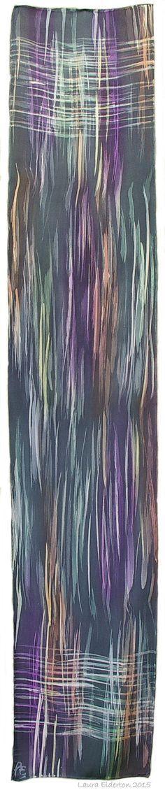 Sophisticated Winter Toned Hand Dyed Charmeuse Silk Scarf - Rainbow in Gray by Laura Elderton www.etsy.com/shop/lauraelderton