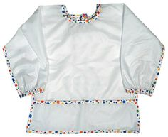 Long sleeve, water repellant fabric with a crumb catcher pocket. Made in USA. Machine washable. $14.00 for Infant and $15.00 for Toddler.