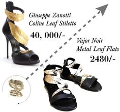Giuseppe Zanotti Coline Leaf Stiletto in black and gold replicated by Vajor as flats in black and gold and brown and gold combinations.