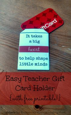 Easy Teacher Gift Card Holder {with free printable!}