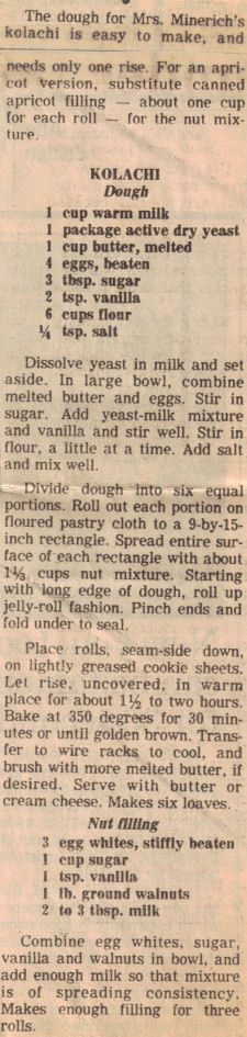 Recipe Clipping For Kolachi-My dad used to make fruit Kolachis for us.