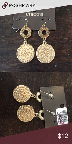 """Brand new earrings Brand new disc earrings from Chico's. Measures 2"""" x .75"""". Retail $25 Chico's Jewelry Earrings"""