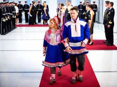 Magreta Sara and her husband's Sami folk costumes (Finland's Independence Day