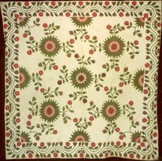 Love the border! Whig Rose.  Maker unknown. Dated 1859. 90 x 90 Inches