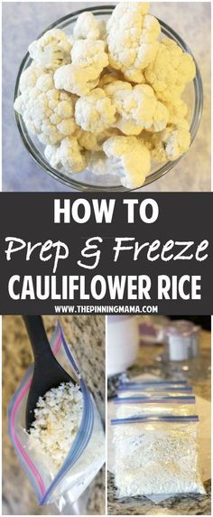 How to Prep & Freeze Cauliflower Rice - Perfect freezer meal for or Pale. - How to Prep & Freeze Cauliflower Rice – Perfect freezer meal for or Paleo diets. Whole30 Diet Recipes, Low Carb Recipes, Whole Food Recipes, Cooking Recipes, Healthy Recipes, Rice Recipes, Keto Meal, Cooking Tips, Recipies