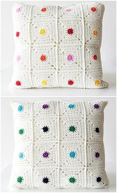 The hot spot pillow is an easily customizable pillow case that brings a little pop of colour into your room! You can create any colour combination you want. This particular colour combination has two sides: One sunny and bright side, and one side for when you're looking for more calmer colours. The pattern is suitable for beginners and is accompanied by a photo tutorial. The pattern is written in US terms.