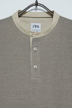 Polo Shirt Design, Fabric Textures, Zara Man, Mandarin Collar, Casual Shirts, Shirt Designs, Short Sleeves, Mens Tops, Man Clothes