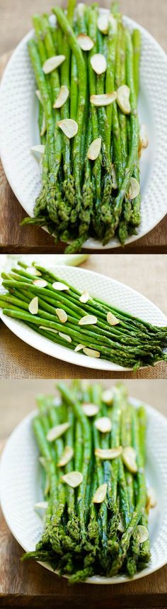 Garlic Roasted Asparagus – healthy oven-baked asparagus with garlic. Four ingredients and takes only 12 mins to make this quick and easy side dish