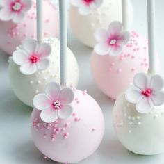 Wedding cake pops by RuthBlack. Wedding cake pops in pink and white