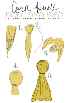 Simple Corn Husk Doll — Mama Earth School instructions (easy enough for a four-year-old to do) (WILDER WEEKEND Program) Corn Husk Crafts, Earth School, How To Make Corn, Corn Husk Dolls, Brownie Girl Scouts, Nativity Crafts, Craft Tutorials, Craft Ideas, American Crafts