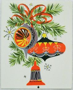 Awesome MCM Christmas Ornaments Card in Orange! Vintage Christmas Images, Vintage Christmas Ornaments, Retro Christmas, Vintage Holiday, Christmas Art, Winter Christmas, Christmas Tattoo, Christmas Things, Vintage Images