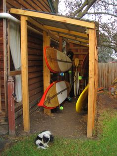 kayak storage, saw this on a paddling forum years ago and have been dreaming ab. kayak storage, saw this on a paddling forum years ago and have been dreaming about it ever since. Surfboard Storage, Kayak Storage Rack, Kayak Rack, Boat Storage, Shed Storage, Bike And Kayak Storage, Extra Storage, Bike Storage Cover, Storage Ideas