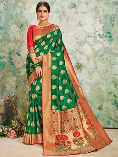 Shop online for sarees and wedding sarees. Buy this silk green weaving work traditional saree. Indian Sarees, Silk Sarees, Trendy Sarees, Sari Fabric, Embroidered Clothes, Traditional Sarees, Party Wear Sarees, Red Blouses, Indian Ethnic Wear