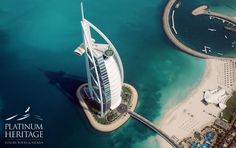An aerial view of the great Burj Al Arab hotel, Dubai Burj Al Arab, Dubai Tourist Attractions, Cool Places To Visit, Places To Travel, Travel Destinations, Hotel Dubai, Travel Around The World, Around The Worlds, Ocean View Hotel