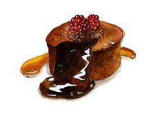 chocolate lave cake w raspberroes Caroline Ayrault