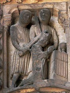 The south porch of Chartres Cathedral contains a series of sculptures, that were made between 1194 and 1230, on the subject of the martyrdom of saints. The first of these is St Thomas Becket who is seen here being killed by two knights.    http://professor-moriarty.com/info/en/section/sculpture/gothic-sculpture-martyrs-chartres-cathedral