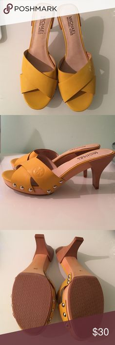 Michael Kors mustard yellow sandals Michael Kors sandals mustard yellow in color. Size 7.5. Never been used but without tags. Heel is 3 inches tall. Michael Kors Shoes Sandals