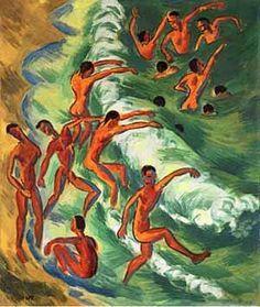 Hermann Max Pechstein - Germany - Badende Knaben in der Brandung - 1917 - Oil on canvas