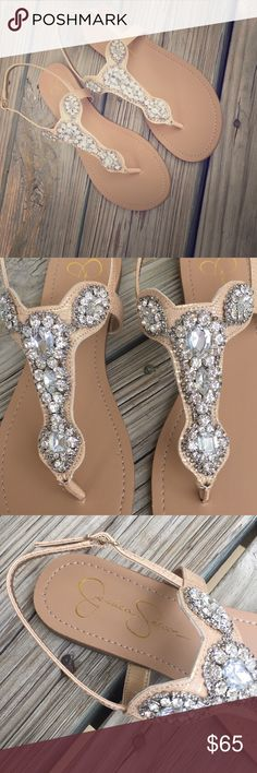 9af027d94d9 NWOB Jessica Simpson Jeweled Thong Sandal NWOB!! Wish they were my size .